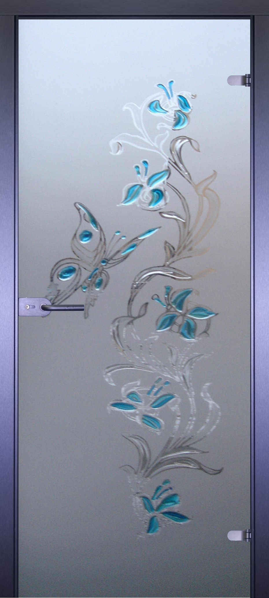 Узор на стеклянной двери фото
